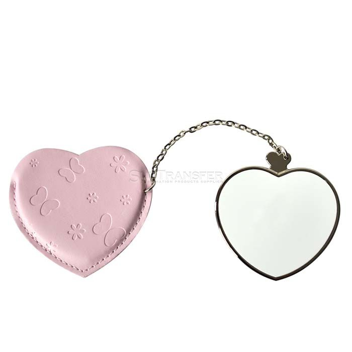 Sublimation Compact Mirror with Leather Case Heart
