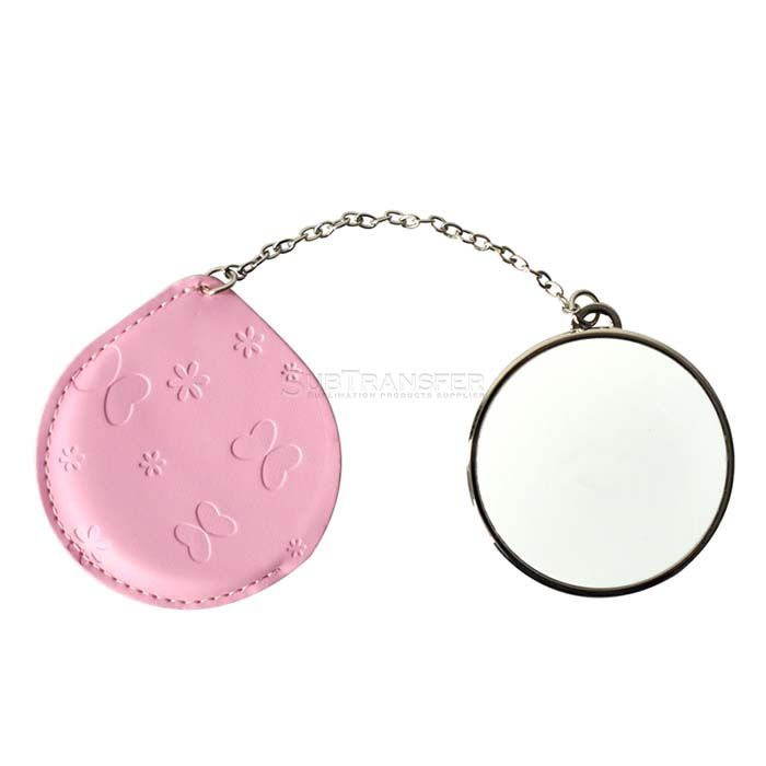 Sublimation Compact Mirror with Leather Case Round