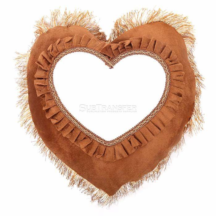 Sublimation Brown Heart Pillow Case