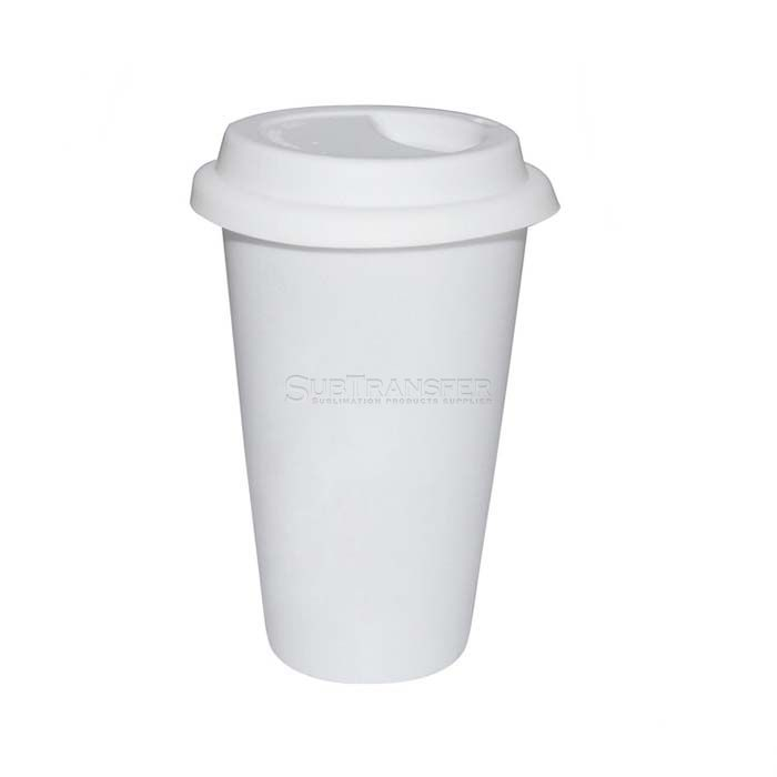 Sublimation Ceramic V Shape Mug With Lid