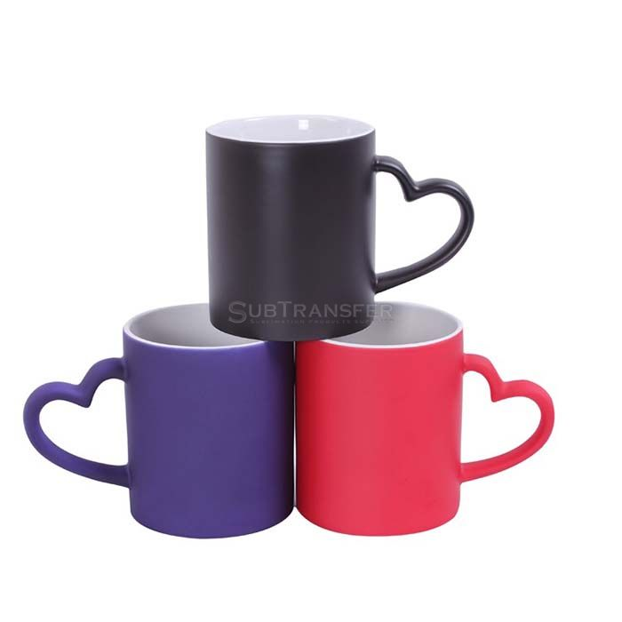Sublimation Color Changing Mug With Heart Handle
