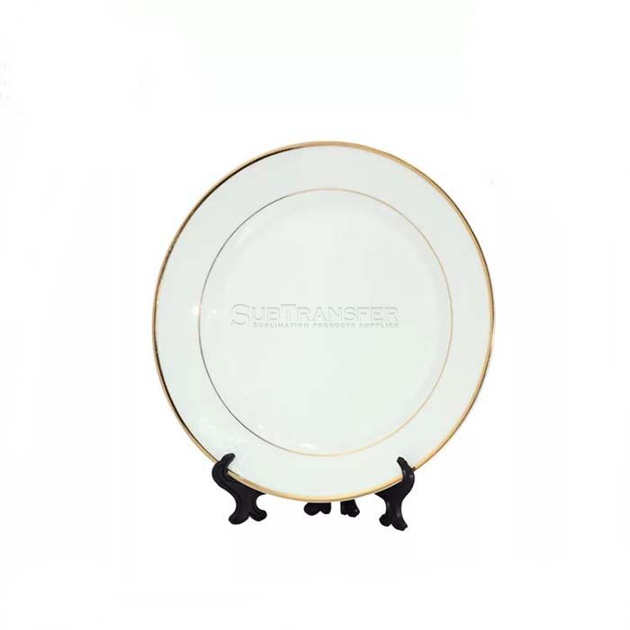 Sublimation Ceramic Plate 8 inch With Golden Rim