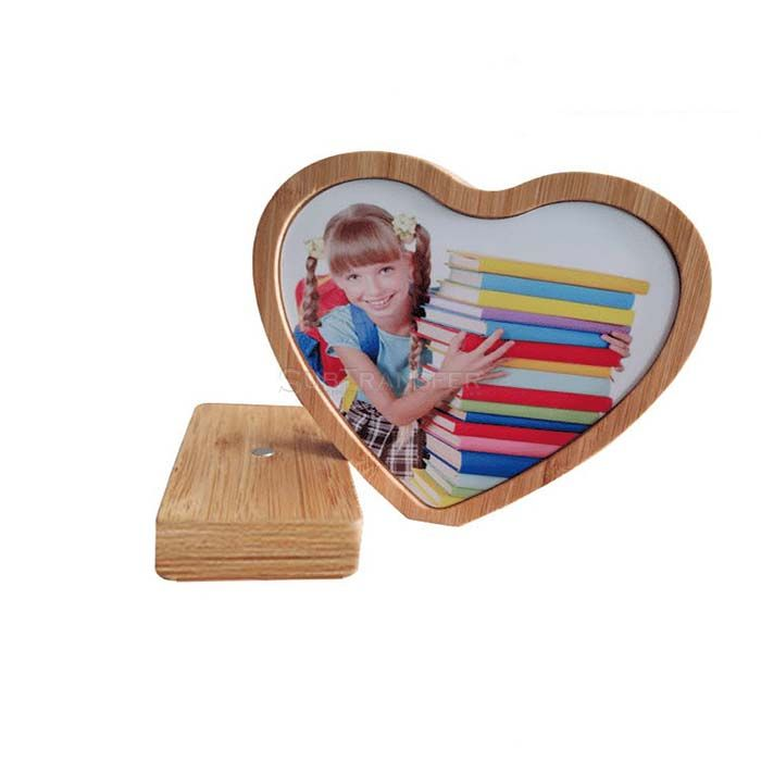 Sublimation Bamboo Photo Frame Heart Shape